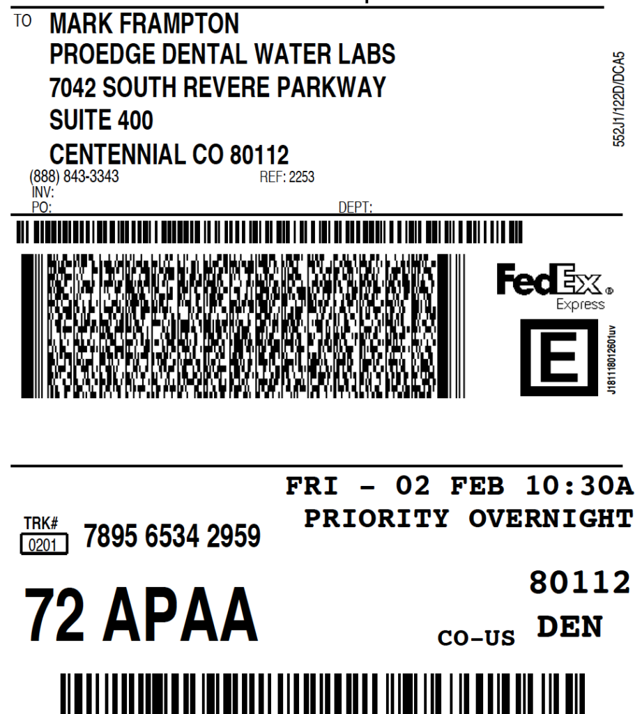 Sample FedEx Overnight Shipping Label - ProEdge Dental Water Labs